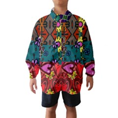 Digitally Created Abstract Patchwork Collage Pattern Wind Breaker (kids)