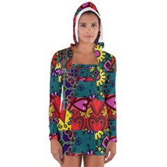 Digitally Created Abstract Patchwork Collage Pattern Women s Long Sleeve Hooded T-shirt