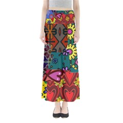 Digitally Created Abstract Patchwork Collage Pattern Maxi Skirts