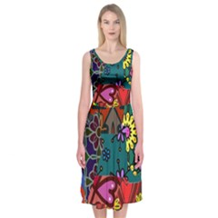 Digitally Created Abstract Patchwork Collage Pattern Midi Sleeveless Dress