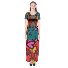 Digitally Created Abstract Patchwork Collage Pattern Short Sleeve Maxi Dress