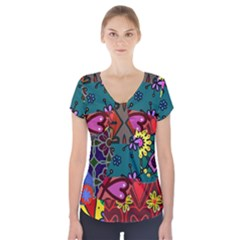 Digitally Created Abstract Patchwork Collage Pattern Short Sleeve Front Detail Top