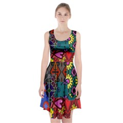 Digitally Created Abstract Patchwork Collage Pattern Racerback Midi Dress
