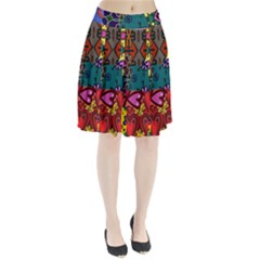 Digitally Created Abstract Patchwork Collage Pattern Pleated Skirt