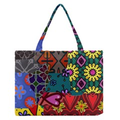 Digitally Created Abstract Patchwork Collage Pattern Medium Zipper Tote Bag