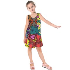 Digitally Created Abstract Patchwork Collage Pattern Kids  Sleeveless Dress