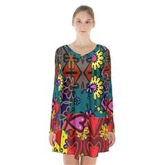 Digitally Created Abstract Patchwork Collage Pattern Long Sleeve Velvet V Neck Dress