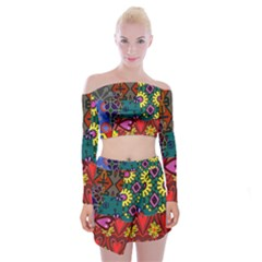 Colorful paint stokes off shoulder top with skirt set off for Ornamental pond fish golden crossword