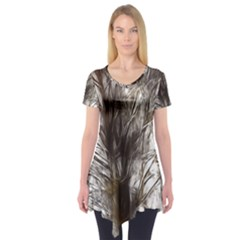 Tree Art Artistic Tree Abstract Background Short Sleeve Tunic