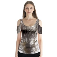 Tree Art Artistic Tree Abstract Background Butterfly Sleeve Cutout Tee