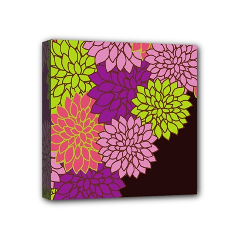 Floral Card Template Bright Colorful Dahlia Flowers Pattern Background Mini Canvas 4  x 4