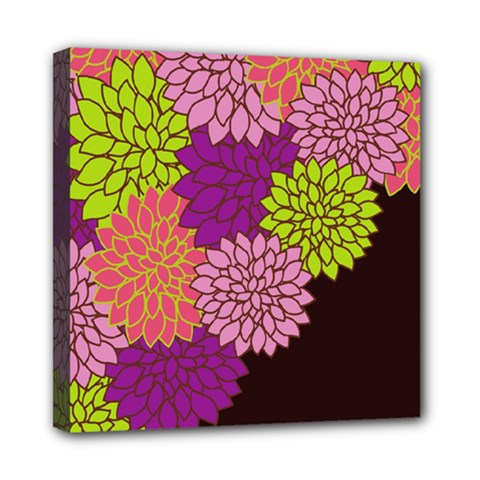 Floral Card Template Bright Colorful Dahlia Flowers Pattern Background Mini Canvas 8  x 8