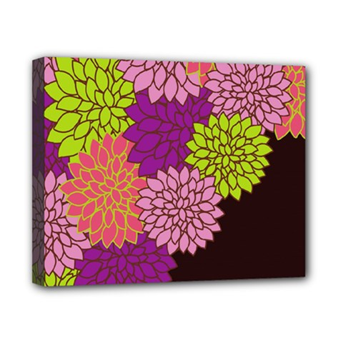 Floral Card Template Bright Colorful Dahlia Flowers Pattern Background Canvas 10  x 8