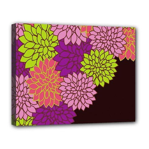 Floral Card Template Bright Colorful Dahlia Flowers Pattern Background Canvas 14  x 11