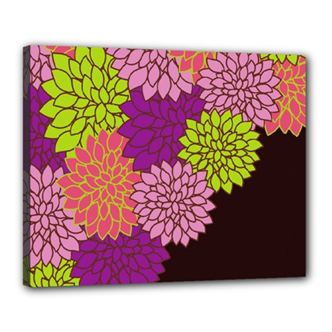 Floral Card Template Bright Colorful Dahlia Flowers Pattern Background Canvas 20  X 16