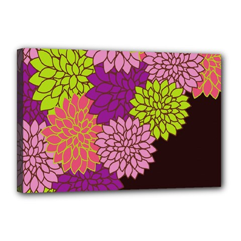 Floral Card Template Bright Colorful Dahlia Flowers Pattern Background Canvas 18  X 12