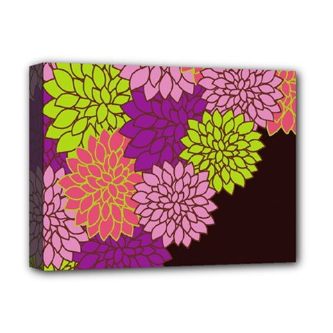 Floral Card Template Bright Colorful Dahlia Flowers Pattern Background Deluxe Canvas 16  X 12