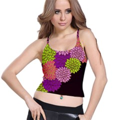 Floral Card Template Bright Colorful Dahlia Flowers Pattern Background Spaghetti Strap Bra Top