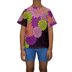 Floral Card Template Bright Colorful Dahlia Flowers Pattern Background Kids  Short Sleeve Swimwear