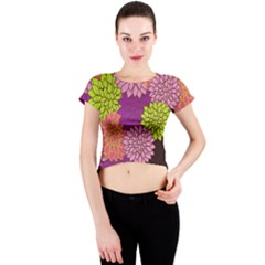 Floral Card Template Bright Colorful Dahlia Flowers Pattern Background Crew Neck Crop Top