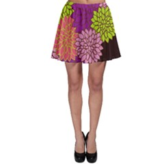 Floral Card Template Bright Colorful Dahlia Flowers Pattern Background Skater Skirt
