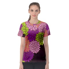 Floral Card Template Bright Colorful Dahlia Flowers Pattern Background Women s Sport Mesh Tee