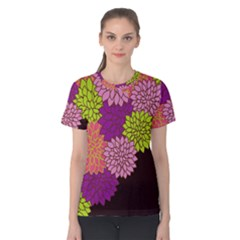 Floral Card Template Bright Colorful Dahlia Flowers Pattern Background Women s Cotton Tee