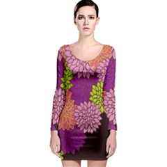 Floral Card Template Bright Colorful Dahlia Flowers Pattern Background Long Sleeve Bodycon Dress