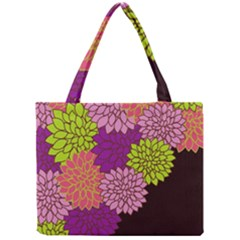 Floral Card Template Bright Colorful Dahlia Flowers Pattern Background Mini Tote Bag
