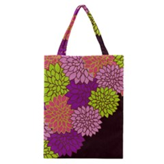Floral Card Template Bright Colorful Dahlia Flowers Pattern Background Classic Tote Bag