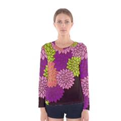 Floral Card Template Bright Colorful Dahlia Flowers Pattern Background Women s Long Sleeve Tee