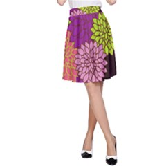 Floral Card Template Bright Colorful Dahlia Flowers Pattern Background A Line Skirt