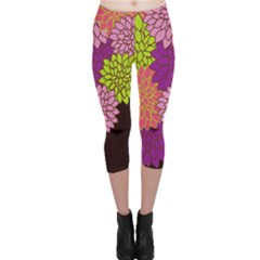 Floral Card Template Bright Colorful Dahlia Flowers Pattern Background Capri Leggings