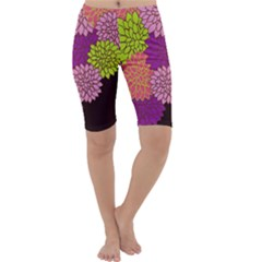 Floral Card Template Bright Colorful Dahlia Flowers Pattern Background Cropped Leggings