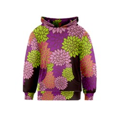 Floral Card Template Bright Colorful Dahlia Flowers Pattern Background Kids  Pullover Hoodie