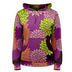 Floral Card Template Bright Colorful Dahlia Flowers Pattern Background Women s Pullover Hoodie