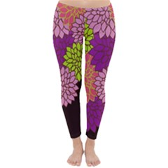 Floral Card Template Bright Colorful Dahlia Flowers Pattern Background Classic Winter Leggings