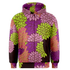Floral Card Template Bright Colorful Dahlia Flowers Pattern Background Men s Zipper Hoodie