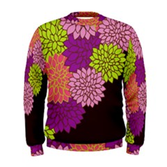 Floral Card Template Bright Colorful Dahlia Flowers Pattern Background Men s Sweatshirt