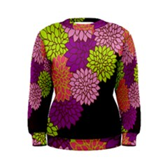 Floral Card Template Bright Colorful Dahlia Flowers Pattern Background Women s Sweatshirt