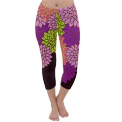 Floral Card Template Bright Colorful Dahlia Flowers Pattern Background Capri Winter Leggings