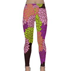 Floral Card Template Bright Colorful Dahlia Flowers Pattern Background Classic Yoga Leggings