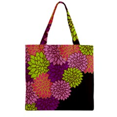 Floral Card Template Bright Colorful Dahlia Flowers Pattern Background Zipper Grocery Tote Bag