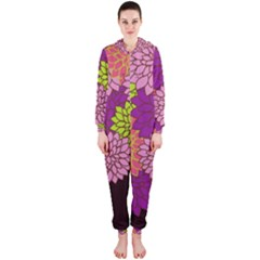 Floral Card Template Bright Colorful Dahlia Flowers Pattern Background Hooded Jumpsuit (ladies)