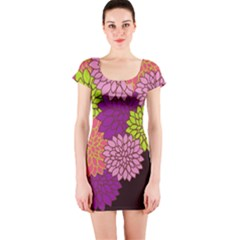 Floral Card Template Bright Colorful Dahlia Flowers Pattern Background Short Sleeve Bodycon Dress