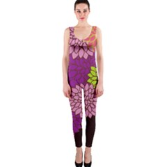 Floral Card Template Bright Colorful Dahlia Flowers Pattern Background Onepiece Catsuit