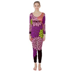 Floral Card Template Bright Colorful Dahlia Flowers Pattern Background Long Sleeve Catsuit