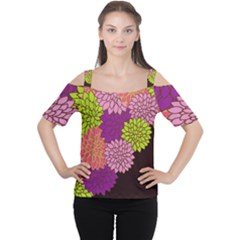 Floral Card Template Bright Colorful Dahlia Flowers Pattern Background Women s Cutout Shoulder Tee