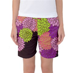 Floral Card Template Bright Colorful Dahlia Flowers Pattern Background Women s Basketball Shorts
