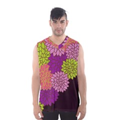 Floral Card Template Bright Colorful Dahlia Flowers Pattern Background Men s Basketball Tank Top